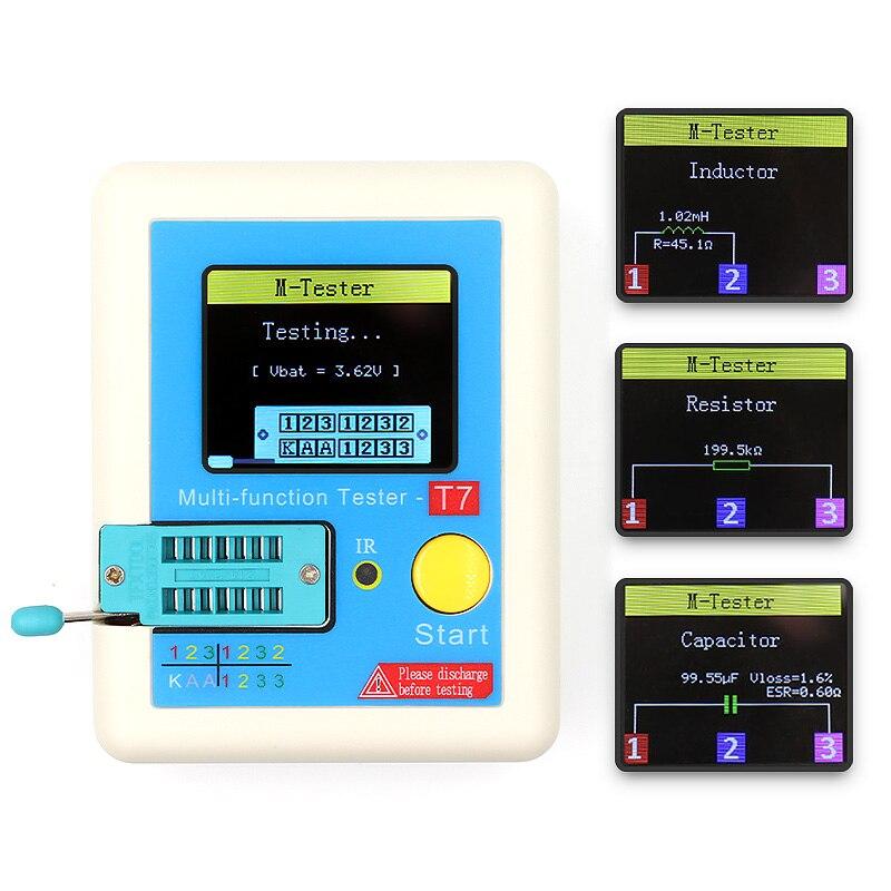 LCR-T7 Neue Transistor Tester TFT Diode Triode Kapazität Meter LCR ESR meter NPN PNP MOSFET IR Multifunktions tester multimeter