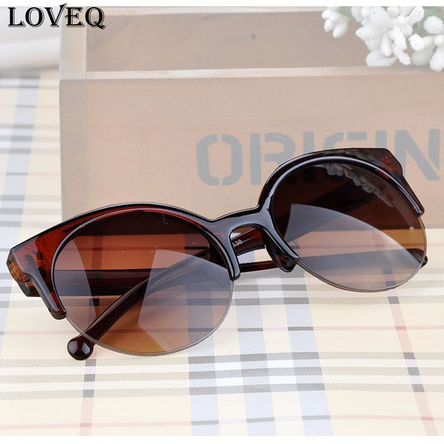 Fashion  Cat Eye Vintage Sunglasses Retro Semi-Rim Round Sunglasses for Men Women Eyewear Eyeglasses oculos de sol feminino