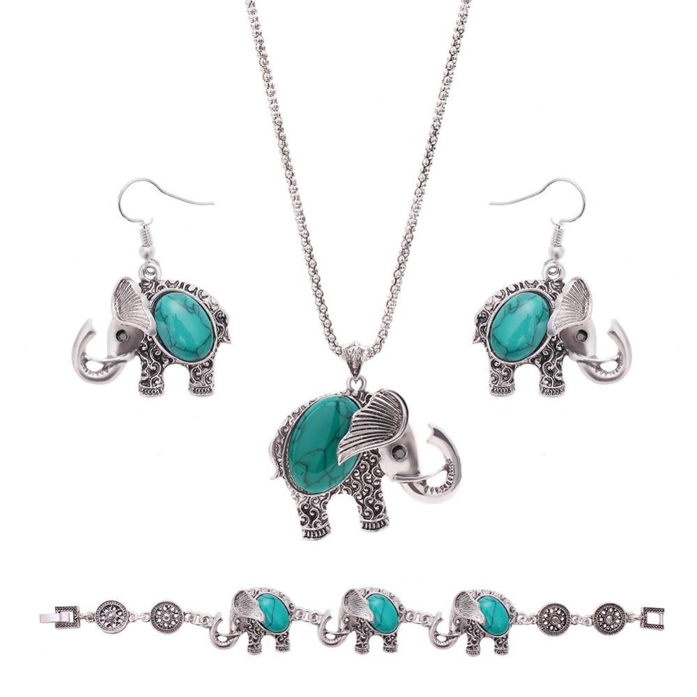 Cindiry Cute Romantic Elephant Necklace Earrings Bracelet 3 In 1 Set  Vintage Bohemia Jewelry Sets Pendant