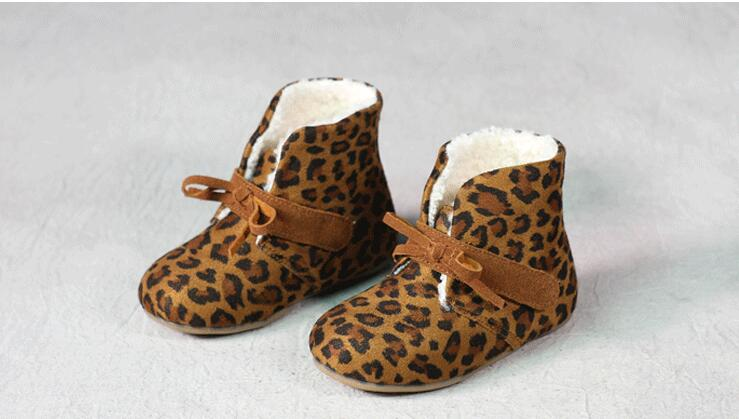 2016 Super comfortable child boots girls soft bottom Leopard boots girls baby kids cotton casual fashion snow boots Girls boots