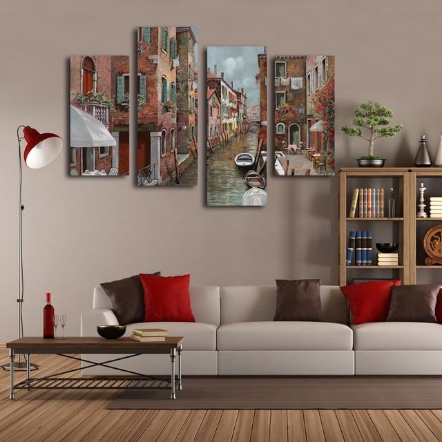 Mediterania venice landscape lukisan 4 pieces kanvas for Parete colorata salotto