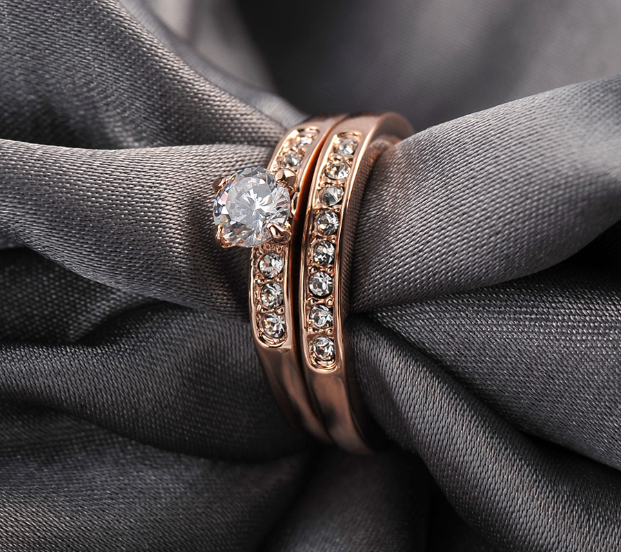 New Sale Brand TracysWing Rings for women Genuine Austria Crystal Copper Gold Color Fashion ring Zirconia