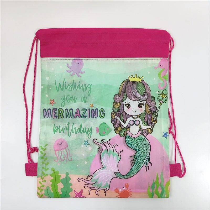 2019 Mermaid School Backpack Drawstring Bag Cartoon School Bag for Girls Boys Travel Storage bag in School Bags from Luggage Bags