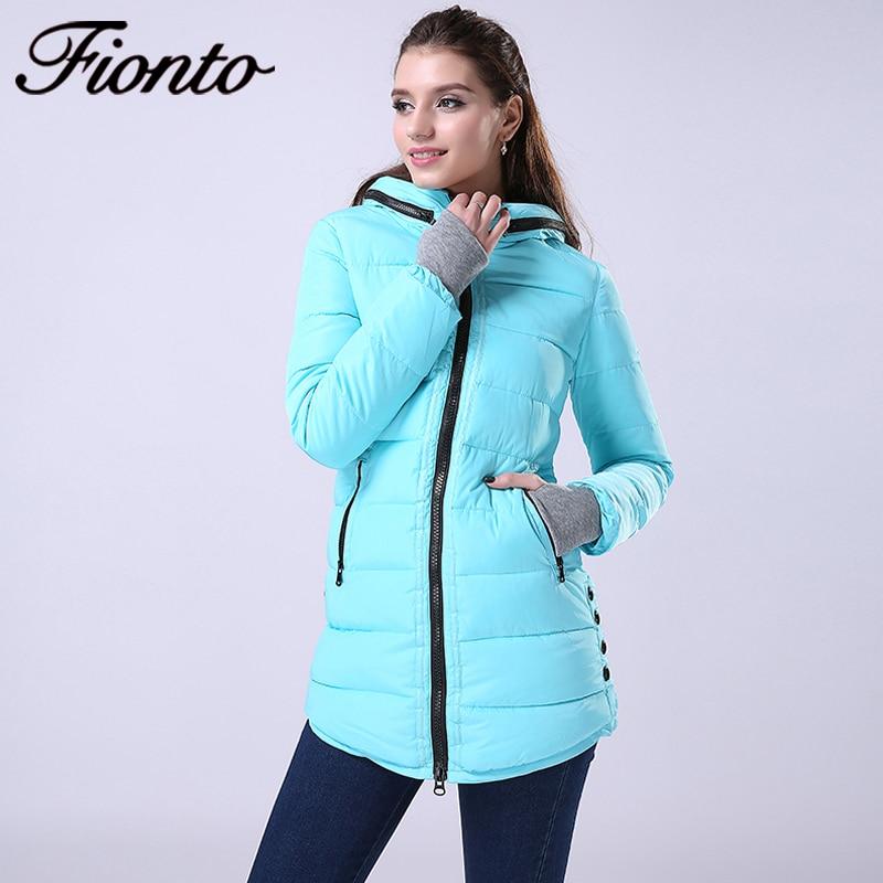 FIONTO Winter Coat Women New Winter Jacket For Women Hooded Long Cotton Warm Coat Slim Waist Thick Parkas Outwear 2017 F007