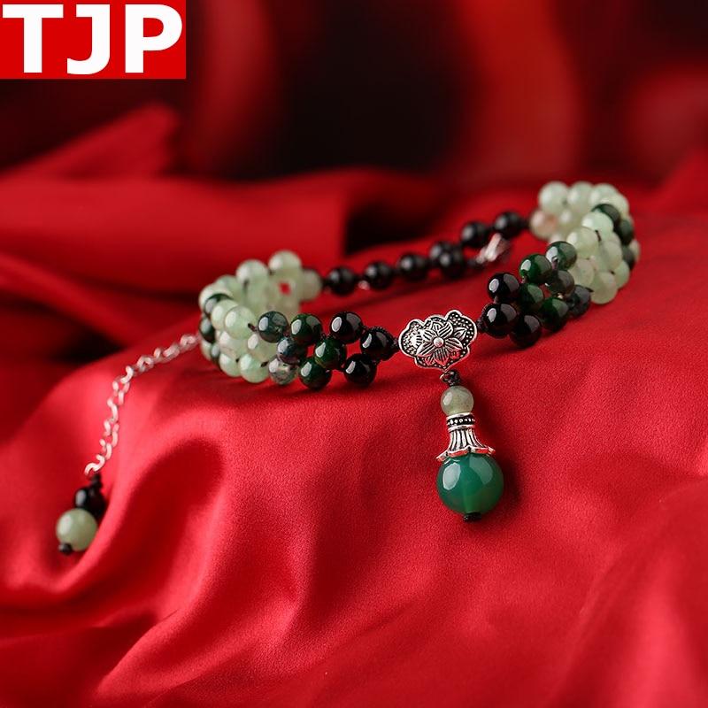 все цены на TJP Fashion Necklace Harajuku Style Clavicle Chain Short 925 Silver Aventurine jade Free Shipping