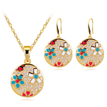 цены Enamel Color Sun Flower Jewelry Set Fashion Pendant Necklace & Drop Earring Anniversary Jewelry for Women Copper Alloy
