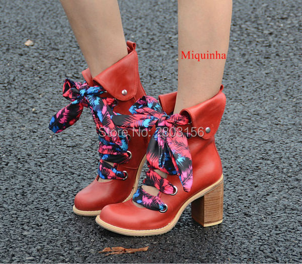Vintage Women Thick Heel Ankle Boots Round Toe Hollow Out Booties Autumn Lace Up Booties High Heels Shoes Woman