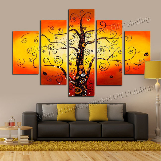 5 Piece Canvas Wall Art 100% Hand Painted Golden Sunshine Money Rich ...