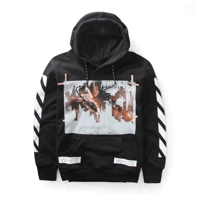 mens hip hop brand clothing OFF WHITE fleece hoodie justin