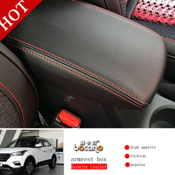 Genuine Leather Armrest Console Pad Cover Cushion Support Box Armrest Top Mat Liner For HYUNDAI 2016 IX25 IX35