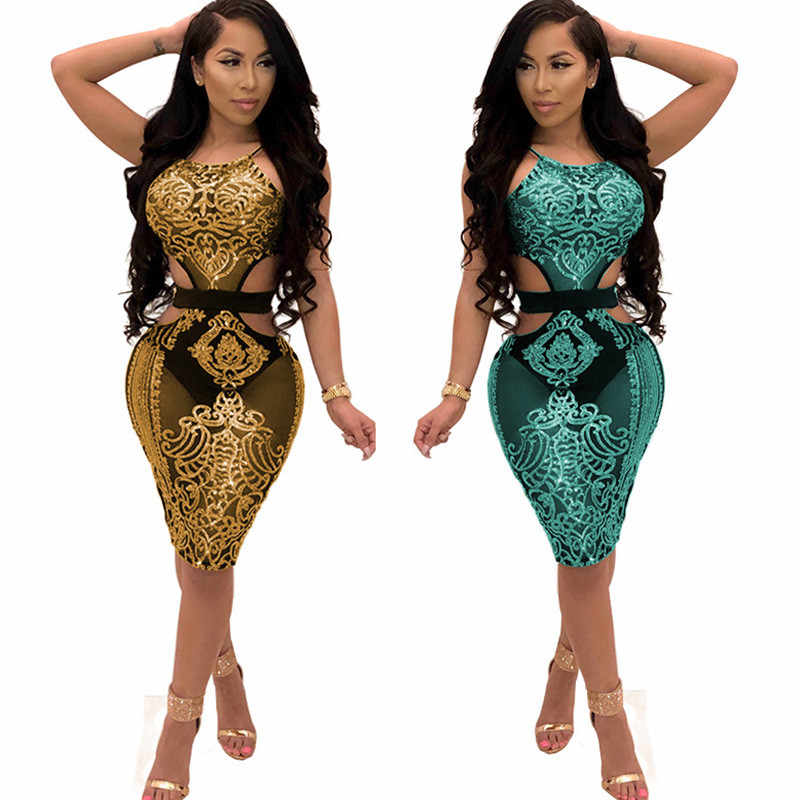 Womens Rose Gold Sequin Dress 2018 Sexy Mesh Sheer Hollow Out Halter Sheath Party  Club Wear 3e34852ca18b