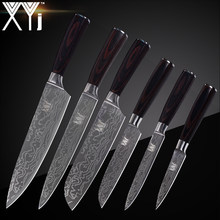 XYj Kitchen Cook Knife Set 7cr17 Stainless Steel Knife Set New Arrival 2018 Damascus Veins Cooking Knives Set Accessories Tools(China)