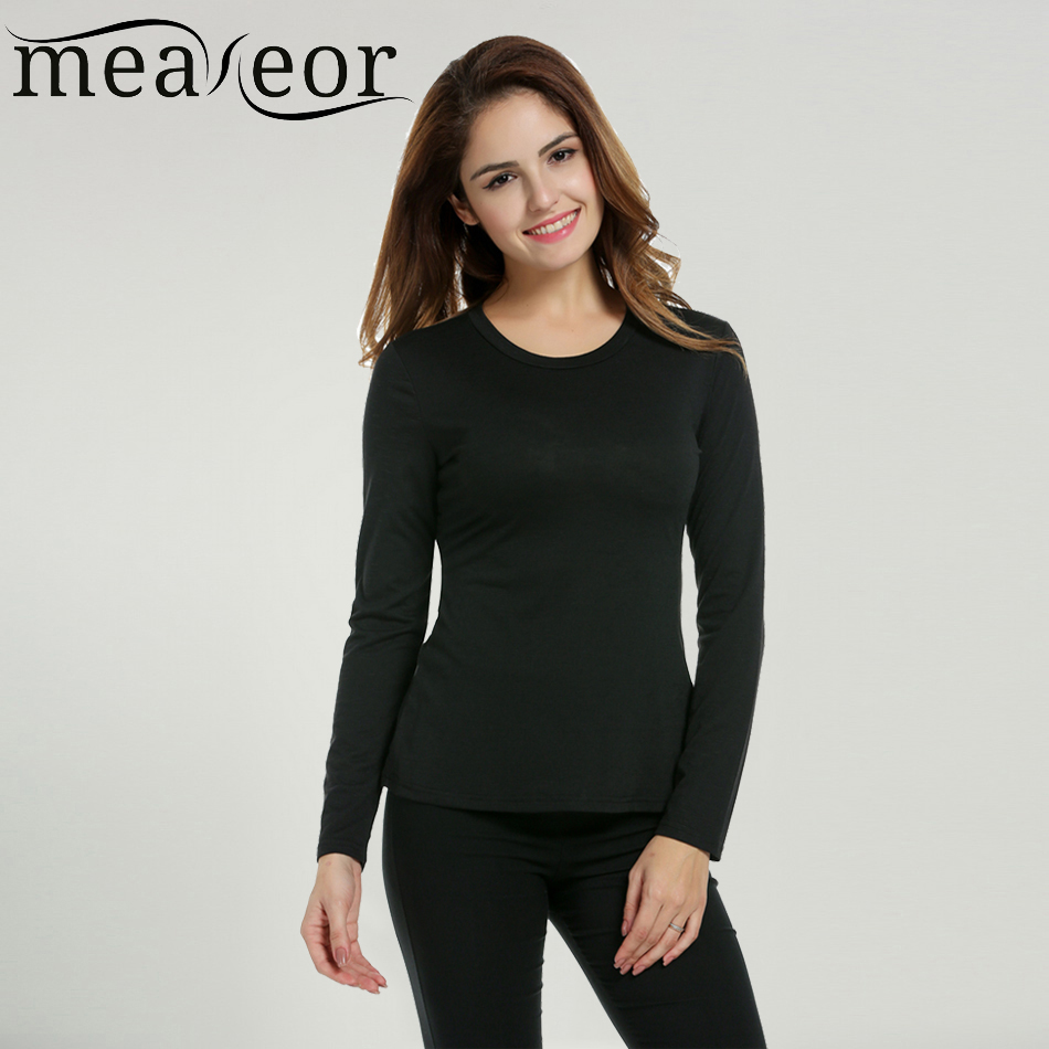 Meaneor brand women long sleeve basic t shirt fitness for Long sleeve fitted tee shirt