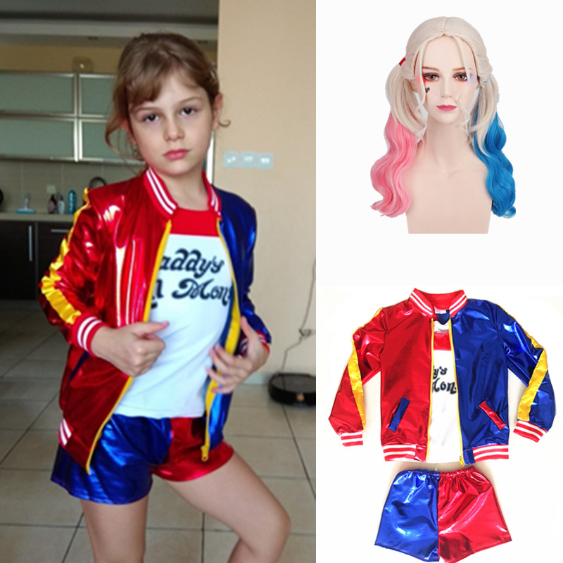24Hrs Ship Out Kids Girls Harley Quinn Joker Costume Purim Suicide Squad Cosplay Costumes Carnival Jacket Wig Sets For Children