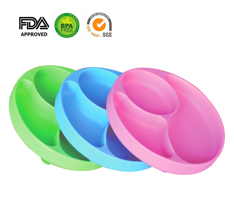 Kids Children Baby Plate 100% Silicone Dishes Bowl With Suction Cup Silicone Feeding Food Pratos Tray Dishes For Baby Toddler