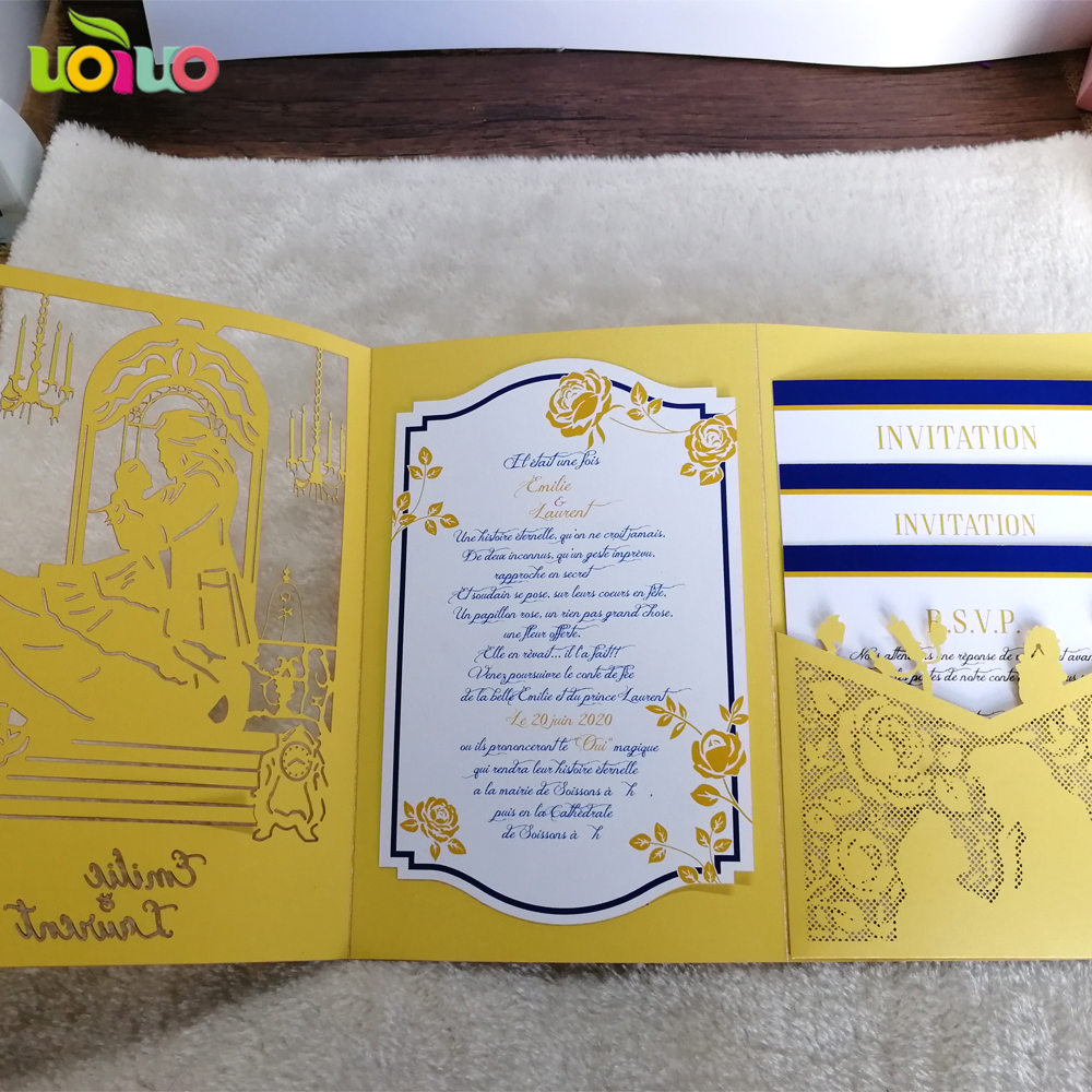 Us 15 04 Off Fancy Beauty And The Beast Wedding Invitation Cards Laser Cut Custom Personalized Card In Invitations