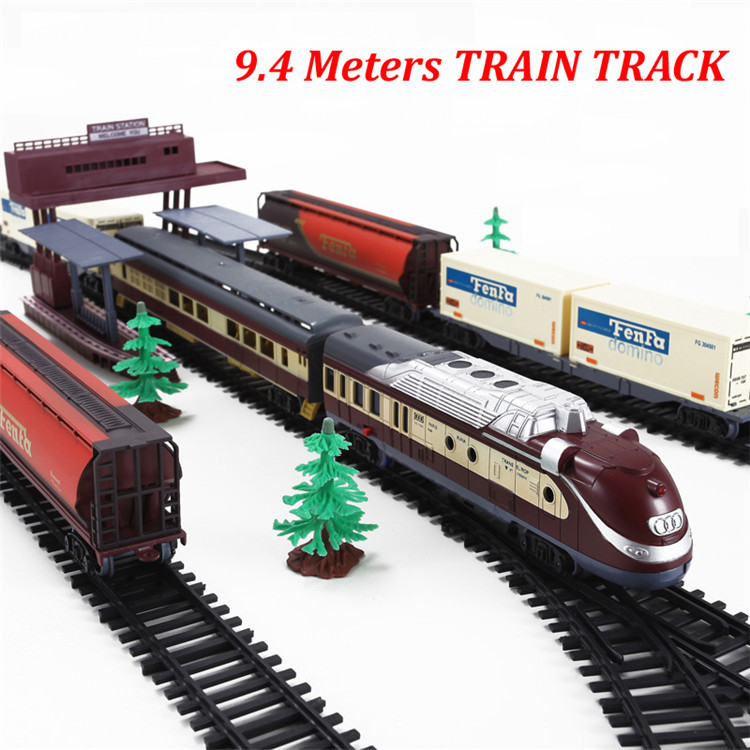 free shipping long steam train 9 4 meters train track set electric toy trains for kids boys. Black Bedroom Furniture Sets. Home Design Ideas