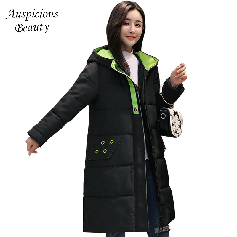 2017 Warm Winter Cotton Coat Women Plus Size 5XL Long Thicken Slim Hooded Outerwear Female Zipper Cardigan Dress Coat TSL111 plus size letter print hooded sweatshirt dress