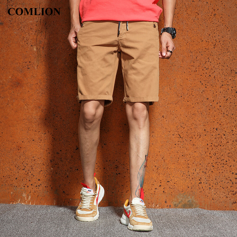 2018 COMLION New Style Summer Shorts Men Fashion Mens Shorts Casual Solid Knee-Length Mens Cargo Short Bermuda High Quality F16