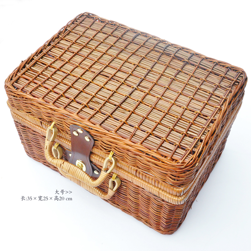 Natural cane makes up bin Awn weaving wicker boxes picnic basket storage basket to restore ancient ways the suitcase Props b in Storage Boxes Bins from Home Garden