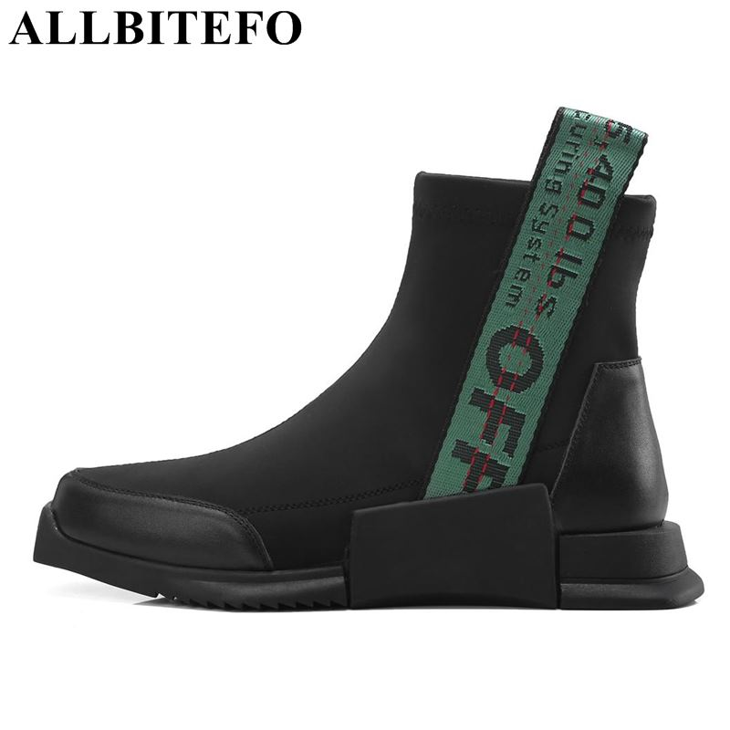 ALLBITEFO brand natural genuine leather Elastic material flat heel women boot fashion casual girls ankle boots