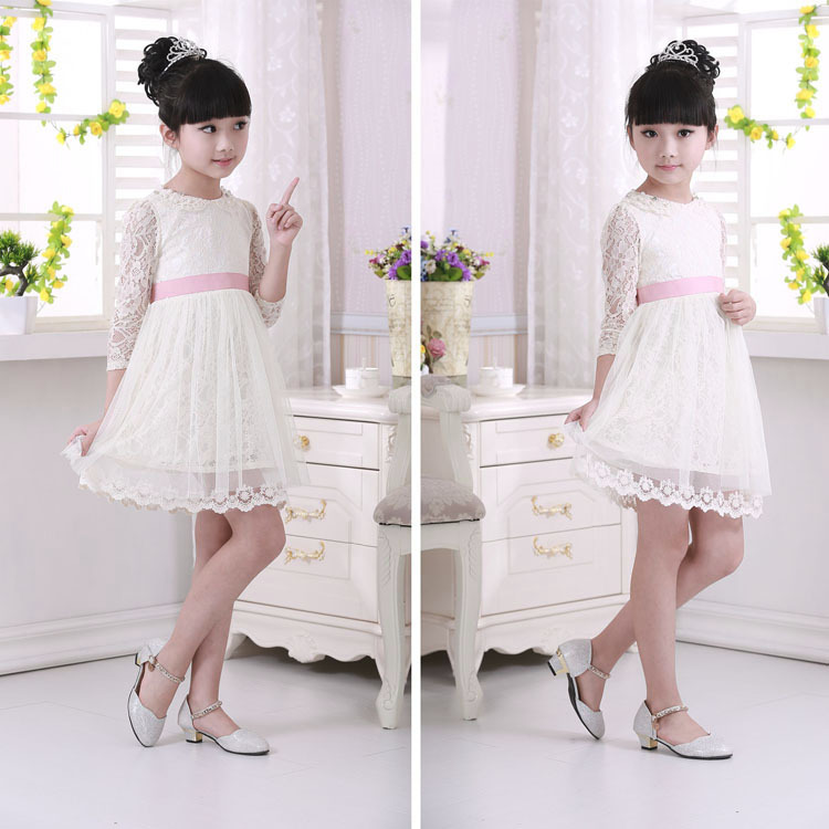 2017 Korean New Girls Spring Princess Party Dress White Mesh Children Solid Lace Dress With Pink Belt Kids Clothes Clothing lace mesh little teenage girls party dress layered spring summer 2017 long girl princess gown dress white pink sundress clothes