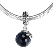 Fits Pandora Charms Bracelets Moon and Star with Midnight Blue Crystal 925 Sterling Silver Jewelry Free Shipping