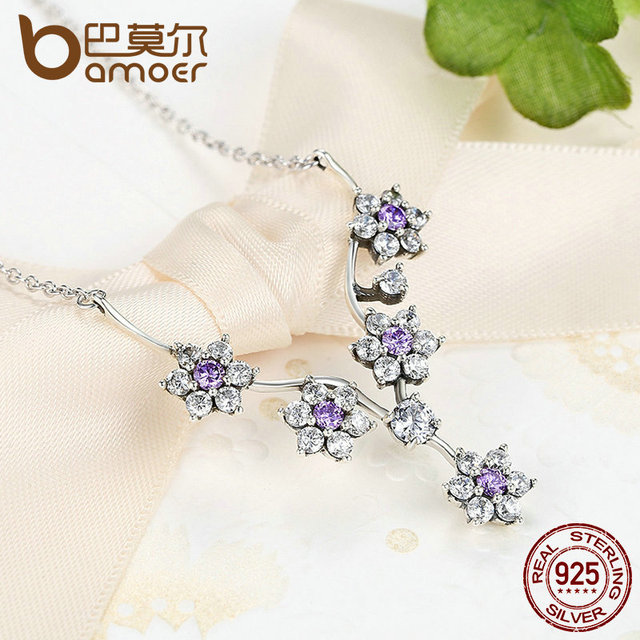 Sterling Silver Flowers Purple CZ Chain Necklace