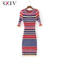 RZIV 2017 Autumn And Winter Women Sweater Leisure Rainbow Stripes Long Sweater