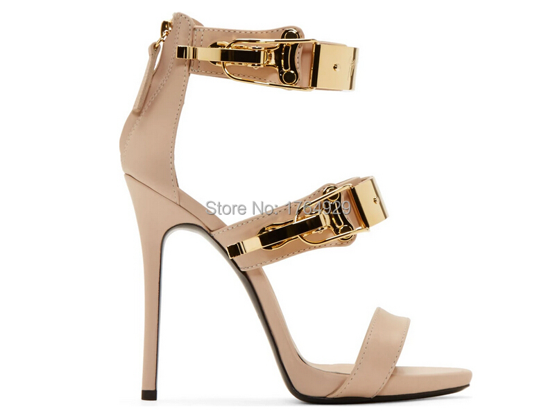 9e1a60e10f3 US $73.2 |Women Nude Color Leather Back Zipper Stiletto Heel Sandals Golden  Band Sequined Strappy Sandals High Heel Sandals Free Shipping-in Women's ...