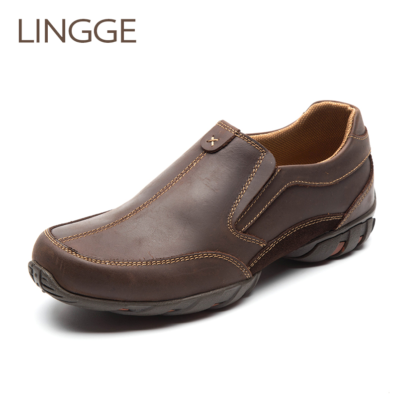 LINGGE Brand Men s Shoes Rubber Sole Genuine Leather Men Shoes Big Size Non Slip Shoe