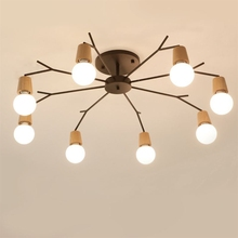 Nordic solid wood modern chandelier natural art style living room bedroom home lighting Lampara Techo