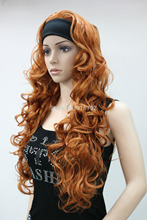 Ladies sexy New 3/4 wig with headband orange brown curly women's long half wigs hairpiece Heat Resistant Hair Wigs FREE SHIPPING все цены