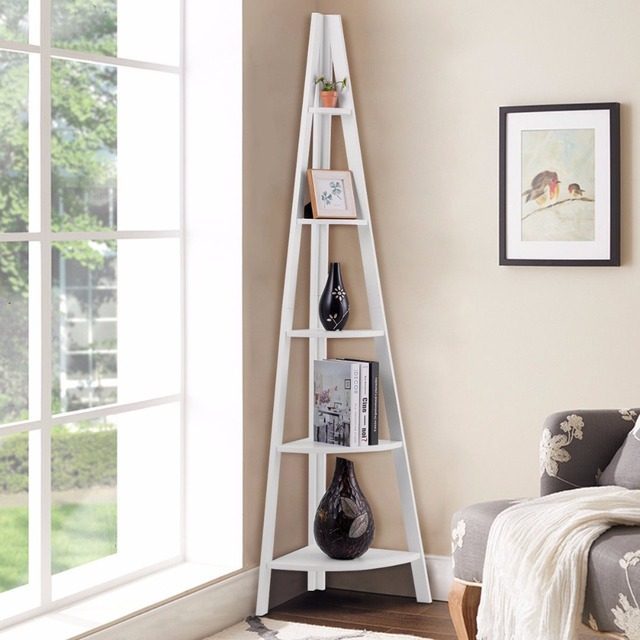Giantex 5 Tier Corner Ladder Shelf Floor Stand Shelves Bookshelf Display Bookcase Home Furniture HW60327WH 1