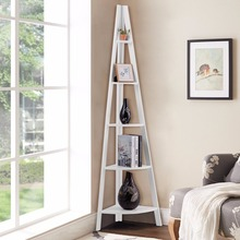 цены Giantex 5 Tier Corner Ladder Shelf Floor Stand Shelves Bookshelf Display Bookcase Home Furniture HW60327WH