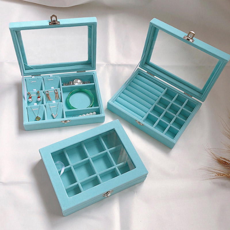 Luxury Blue Velvet  Jewelry Display Box Case for Rings Earrings Bracelets Necklaces or other Ornaments Storage Organizer