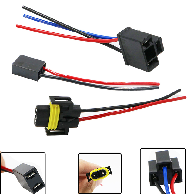 US $62.66 25% OFF|YSY 100PCS H4 H7 H11 Ceramics Adapter Wiring Harness on