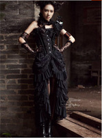Top Sale Steampunk Back Woman Vintage Skirt Black Backless Lace Plus Size Skirts