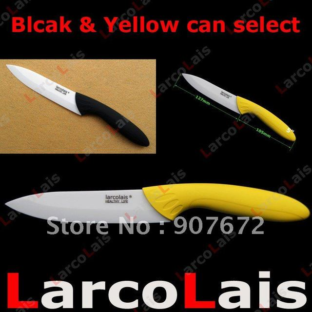 "1PC 5"" 5 inch Ceramic Knife White Blade Utility Yellow or Blcak Handle Can Chosoe Free Shipping Christmas"
