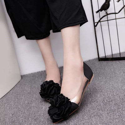 Spring and summer new Korean Camellia Point pointed shoes sweet satin flowers shallow mouth flat shoes transparent sets of shoes