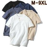 Linen male big v neck t shirt Chinese style fat guy plus size men's Casual short sleeve T shirt 7XL 8XL 9XL big summer shirts