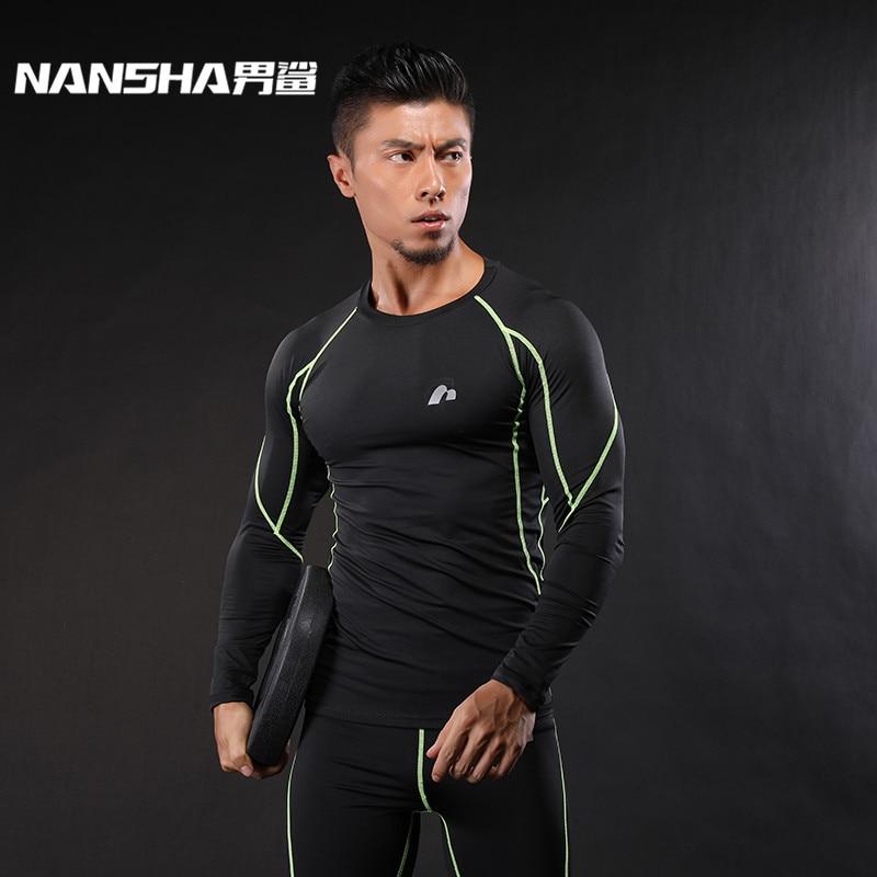 NANSHA Heren Fitness Lange Mouwen T-shirt Mannen Bodybuilding Huid Strakke Ademend Spandex Compressie Shirts Crossfit Workout Tops