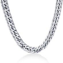 NIBA 8 мм широкое мужское ожерелье 24 дюйма из нержавеющей стали с серебряным покрытием Мужская цепочка ожерелье, модное ювелирное изделие