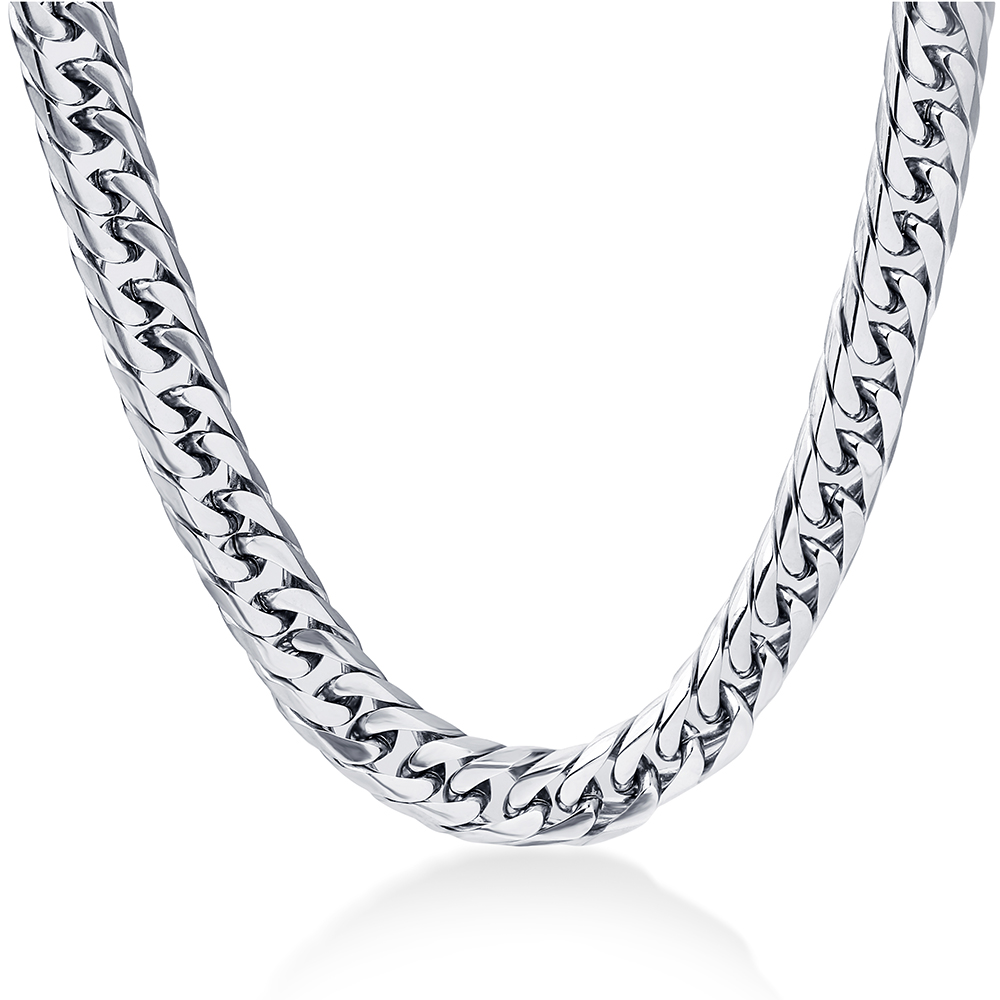 NIBA 8mm wide Men's Necklace 24inch Stianless Steel silver ps