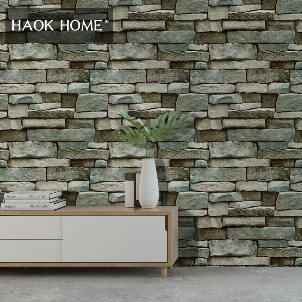 HaokHome 3d Brick Wallpaper 0.45mx6m Self Adhesive Contact paper Green wall covering Living room Kitchen Bedroom home Decoration green lake 3d printing home wall hanging tapestry for decoration