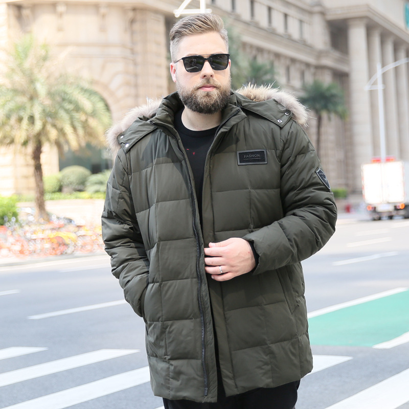 175KG Bigger sizes fashion men hooded stand collars   down   jacket Large yards man warm winter   coats   Male white duck   down     coat