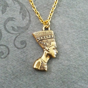 Fashion Ancient Egyptian Queen Pharaoh Hip-Hop Fatima Pendant Egypt Nefertiti Head Portrait Necklace(China)