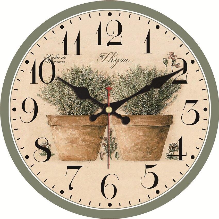 Wonzom relógio de parede do vintage design flor relogio de parede grande relógio silencioso para sala estar chique shabby cozinha saat decoração casa
