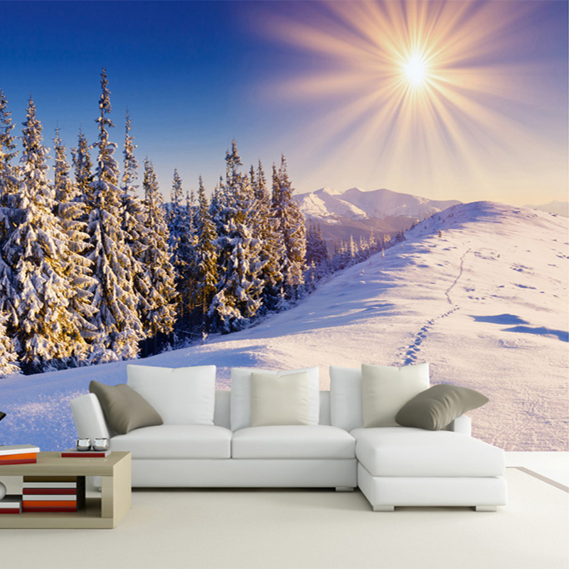 Custom Any Size 3D Wall Mural Wallpapers Winter Snow Modern TV Background Wall Living Room Wall Paper Home Decor Papel De Parede