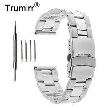 0b744e0fecc6 18mm 20mm 22mm Acero inoxidable banda de reloj para CASIO bem 302 307 501  506 517 EF serie seguridad hebilla pulsera correa de m.
